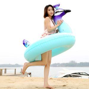 120cm géant gonflable paon piscine Float rangée Ride-On piscine anneau de vacances de l'eau jouets Piscina drôle de natation laps10