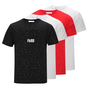 Brand design usura SS18 Summer Street Europa Parigi Fan Made modo di alta qualità Uomini rotto Hole cotone Tshirt casuale delle donne T GIV maglietta.