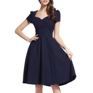 Vente en ligne nouvelles femmes One Piece Dress robe de bal Empired Puff Sleeves robe élastique Black Shopping en ligne Robes Casual