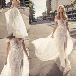 Muse par Berta 2020 Robes de mariage Robes de Noiva col en V Backless robe de mariée Slit Une ligne de robe de mariée en dentelle Custom Made