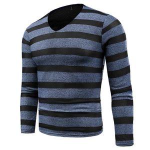 2018 새로운 남자의 겨울 가을 스웨터 남자 스웨터 V 넥 긴 소매 스트라이프 패턴