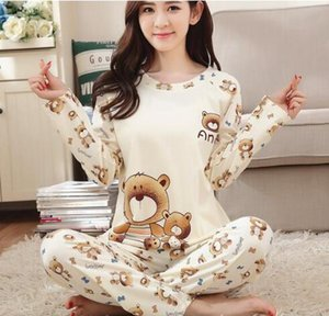 Listagem do novo Foply 2018 Primavera Pijamas Mulheres Carton Pijama Bonito Padrão Pijama Set Fino Pijamas Mujer Sleepwear Atacado