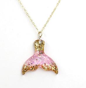 Glitter Mermaid Tail Pendenti Charms Collana Mermaid Tail Collana per le donne Ragazze regalo per bambini