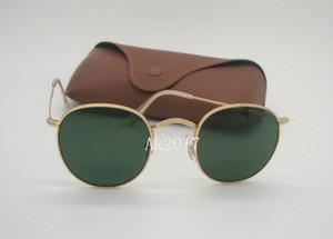 Yüksek Kalite Mens Womens Yuvarlak Güneş Gözlüğü Gözlük Klasik Güneş Gözlükleri Altın Metal Yeşil 50mm Cam Lensler Kahverengi Kılıf Ile Gel