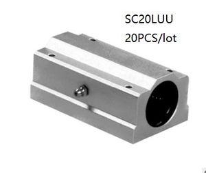 20pcs / lot SC20LUU SCS20LUU 20mm unité de boîtier linéaire double ou double bloc linéaire blocs paliers pour routeur cnc 3d imprimante pièces