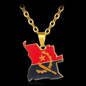 Moda moda unissex Africano Angola Mapa da bandeira da cor do ouro pingente de colares para Angola Mapa Jóias Bijoux Femme