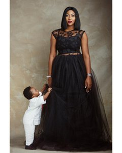 Black Two Pieces Evening Dresses 2019 Dubai Arabic African Cap Sleeve Lace Prom Gowns Sexy A-line Party Dress Scoop Neck Vestido De Festa