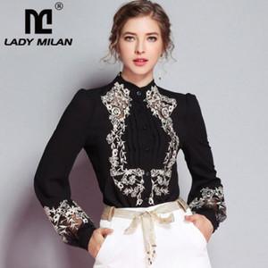 New Arrival 2018 Autumn Women's Ruched Embroidery Floral Long Sleeves Elegant Fashion Designer Silk Shirts&Blouses