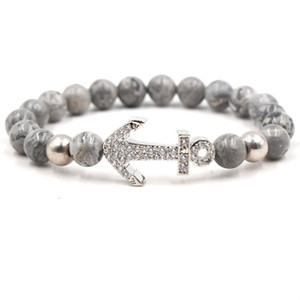 Stone Bracelet Popular Stone Anchor CZ Beads Leopard Head Bracelet Zircon Bracelets