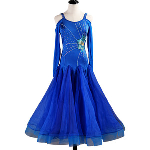 Ballroom Waltz Dresses Competition Dress Dancing Outfits Ballroom Tango Dance Costumes Customized Size D0451 Rhinestones Big Sheer Hem