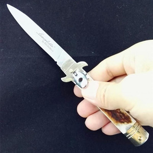 """7.5"""" Bill DeShivs Leverletto cuerno del macho colección de obras de arte estilete mango de asta de la hoja del cuchillo D2 cuchillos plegables cuchillo del regalo para el hombre"""