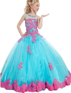 2019 Little Girl Ball Gown Girls Pageant Dresses Jewel Neck Lace Applique Glitz Pageant Floor Length Flower Girls Dresses For Children Prom
