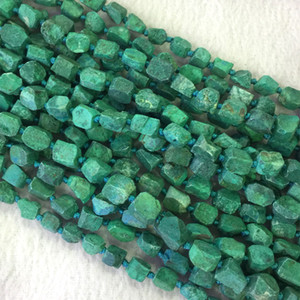 "Doğal Hakiki Ham Mineral Yeşil Chrysocolla Kaba Mat Faceted Nugget Serbest Form Gevşek Boncuk 6-8mm 15 ""05495"