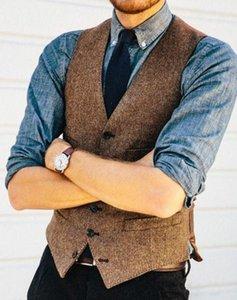 2019 Brown Rustico sposo gilet Per Farm Country Wedding lana a spina di pesce tweed del vestito Vest Slim Fit Tailor Made Groomsmen Attire