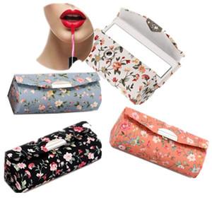 빈티지 접는 립스틱 스토리지 박스 여성용 2 미러 꽃 패턴 메이크업 박스와 손수 코튼 린넨 주최자 3lx BB