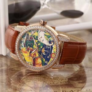 New Classico Enamel 729-61 로즈 골드 코끼리 사자 원숭이 동물 토템 자동 남성 시계 가죽 시계 다이아몬드 베젤 최고 품질 UN82a1