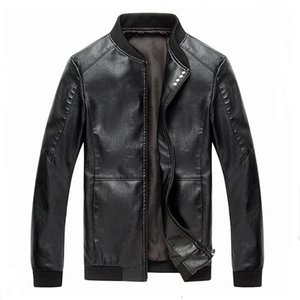 New 2017 Men PU Leather Jacket Zipper Stand Collar  Fashion Leather Overcoat for Male Plus Size M-4XL jaqueta motoqueiro