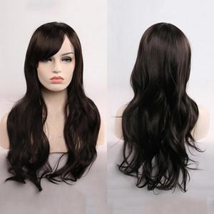 Longo encaracolado Cosplay Wig Com Frente cabelo estrondo para Qualquer cor da pele de Alta Temperatura Silk Peruca Chapelaria
