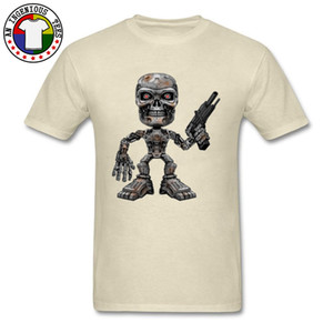 Terminator Skeleton Crew Neck Tops para hombre Camiseta Simple Style Clothing Shirt Regular manga corta Tshirt Cool Novelty Tees Chicos