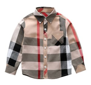 Fashion boys plaid shirt kids lapel long sleeve casual tops children single breasted pocket lattice shirt autumn kids designer clothes F1640