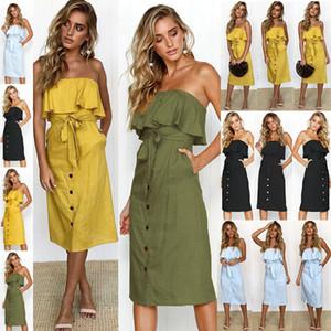2018 nouvelles robes sexy d'été avec dos wrap au large ceinture bouton épaule falbalas vestimentaire pour les femmes