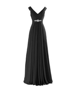 2018 New Elegant Black Backless Crystal V-Neck A-Line Long Prom Dresses With Plus Size Party Dresses Formal Gowns Vestido De Festa BP13