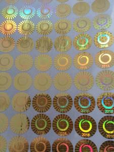 Adesivos de holograma logotipo personalizado / padrão Laser de impressão de etiquetas em material de prata / ouro não removível Etiquetas de segurança para produtos em folhas