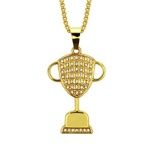 Trophy shape pendant necklace alloy long chain gold plated hiphop hip-hop rap style men jewelry necklace wholesale free shipping