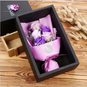 caixa de presente da flor do sabão bouquet artificial da rosa Caixa preta 5 flores Pequenos presentes para amantes Flores perfumadas