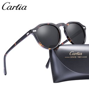 Neue Marke Unisex Retro Oval Sonnenbrillen für mit Kasten hochwertigen Rahmen Mode polarisierte Männer Acetate Frauen-Sonnenbrille CARFIA 5266 50mm