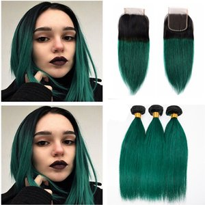 Dark Green Ombre Brazilian Virgin Human Hair 3 Bundles Deals with Top Closure Straight Two Tone 1B Green Ombre Hair Weavea With Closure