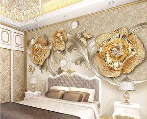 requintado ouro estilo europeu 3d Europeu borboleta rosa Photo Fashion TV fundo papel de parede papel de parede para paredes 3d