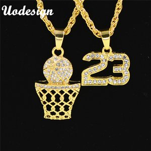 Uodesign Iced Out Bling Full Strass Hommes Basketball Numéro 23 Hiphop Colliers Or Couleur Collier De Sport pour Hommes Bijoux