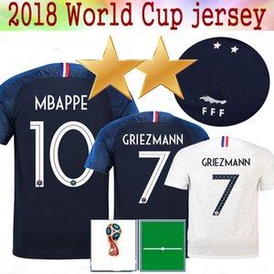 Novo 2 estrelas 10 Mbappé 2018 patch de copa do mundo de futebol Jersey GRIEZMANN 6 Pogba Soccer Jersey Kante DEMBELE GIROUD Matuidi Football Shirt
