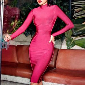 Atacado Moda Bandage Vestido New Outono e Inverno Mulher Fashions 2018 Sexy Wine alta Neck Red manga comprida vestido bandage
