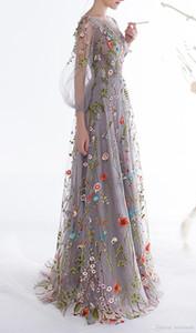 de las nuevas mujeres de manga larga vestidos de baile floral de moda del bordado una línea de vestidos de noche formal del partido vestidos del desfile vestido de novia Vestios