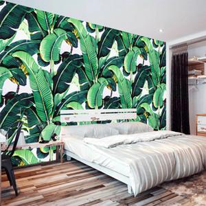 Al por mayor-Estilo Europeo Retro Tropical Planta de la Selva Tropical Banana Leaf Foto Wallpaper Pastoral Mural Fondo Mural de la pared Dormitorio Fresco