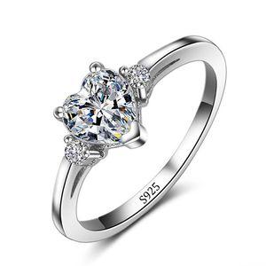 X Vecalon Promozione All'ingrosso Real 925 Argento Cuore Anello di nozze Fine Jewelry Intarsio Cuore 5A Zircone cz Anelli di fidanzamento per le donne