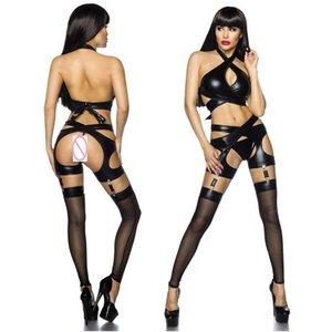 2018 nueva venta caliente sexy mujeres de la PU cuero lingere BabyDoll Underwear Hollow Out Nightwear PU traje de lencería de cuero + ligas