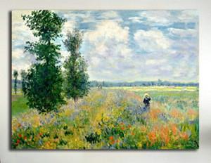 Haşhaş Alan Argenteuil Claude Monet tarafından Yüksek Kalite El-boyalı HD Baskı Manzara Sanat Yağlıboya Tuval Duvar Sanatı Ev Dekor l147