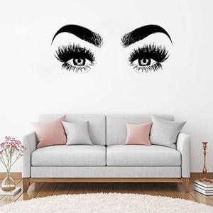 Gratuit shippingNew Arrivées Cils Eye Wall Decal Art vinyle Accueil décorations Grand Lashes Sourcils Fond d'écran amovible Diy Autocollant Mural
