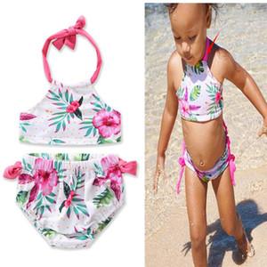 INS Hot Europe Style Ragazze Pink Flowers Hanging Neck Bikini Split Neonate Costume da bagno per bambini Due pezzi Beach Swimwear 2-6T