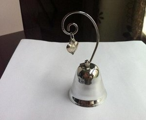 Charming Chrome Heart Bell Place Card Photo Holder with Dangling Heart Charm Baby Shower Favors Wedding Gift