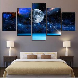 Envío gratis 5 Unidades Luna Tierra Universo Cielo Estrellado Óleo Home Decor Art Portait Poster Wall Pictures Modern Room Paisaje Pintura de la Lona