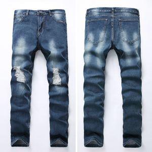 Klassische Jeans-Männer 2018 Streetwear Hip Hop Bule Loch gerade dünne Hose männlich Slim Fit Stretch Pantalon Homme Boyfriend-Jeans