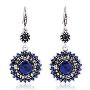 Vintage Bohemia Folk Style Earrings Royal Blue Bridal Jewelry Rhinestones Fashion Jewelry In Stock for Beach Party Jewelry Accessories