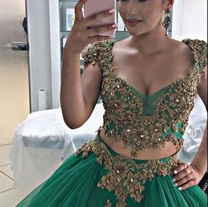 JAJJA Couture De Luxe Or Vert Inde Style Robes De Bal Avec Des Manches 2018 Deux Pièces Dubai Abaya Arabe Puffy Soirée Porter Des Robes