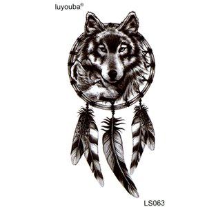 Schwarz Wolf Wasserdicht Temporäre Tattoos Männer harajuku Schönheit tier tatouage tatoo kinder sticker Halloween Feder Henna Tattoo