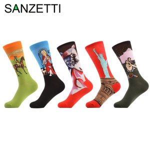 Wholesale- SANZETTI 5 pairs/lot Men's Funny Combed Cotton Socks Jesus Oil Painting Casual Crew Socks Fashion Winter Dress Socks For Gift