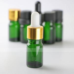 5 ml de vidrio frascos cuentagotas vacíos para los aceites esenciales, botellas verdes 5ml E líquida de vidrio con gotero al por mayor para E-cigarrillos jugo 960pcs / lot